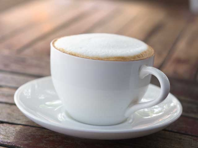 A cup of cappuccino.
