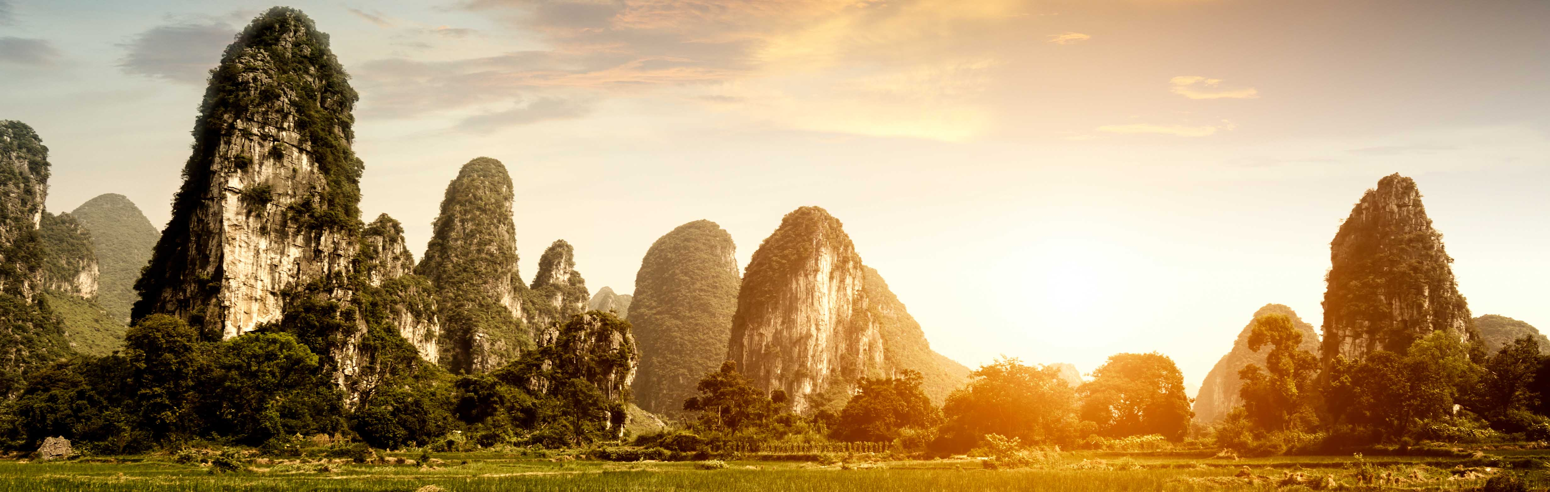 The stunning landscape of Guilin at sunset.