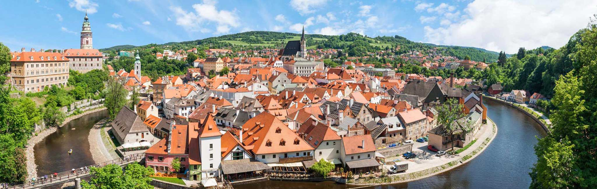 Czech Republic Tours - Cesky Krumlov castle and church of St. Vitius