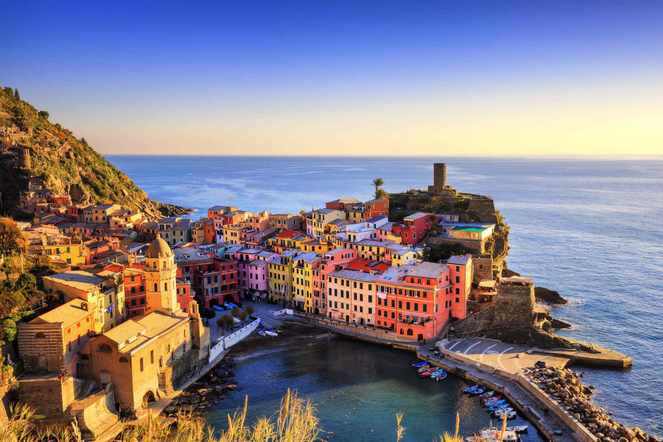 Aerial View of the Vernazza Village in Cinque Terre, Italy.