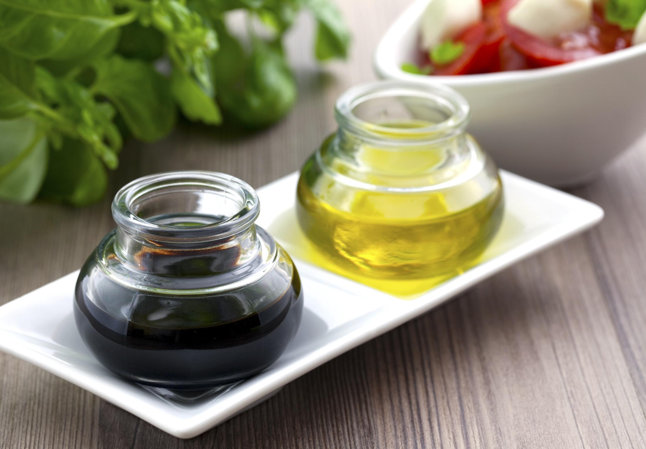 Balsamic vinegar and olive oil.