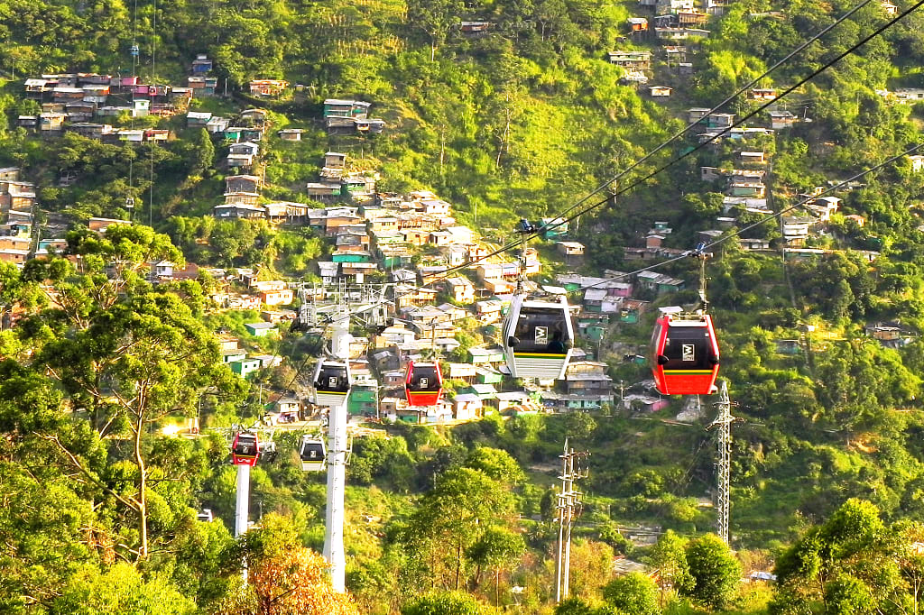 Cable car soaring over Medellin, Colombia