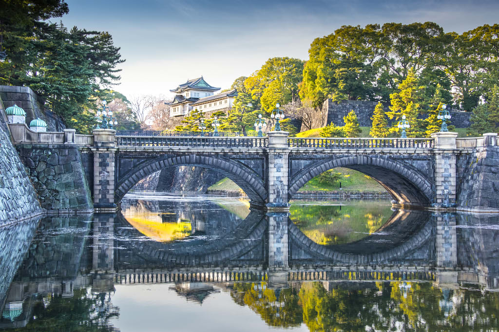 Imperial Palace Tokyo, Japan with bridge and river