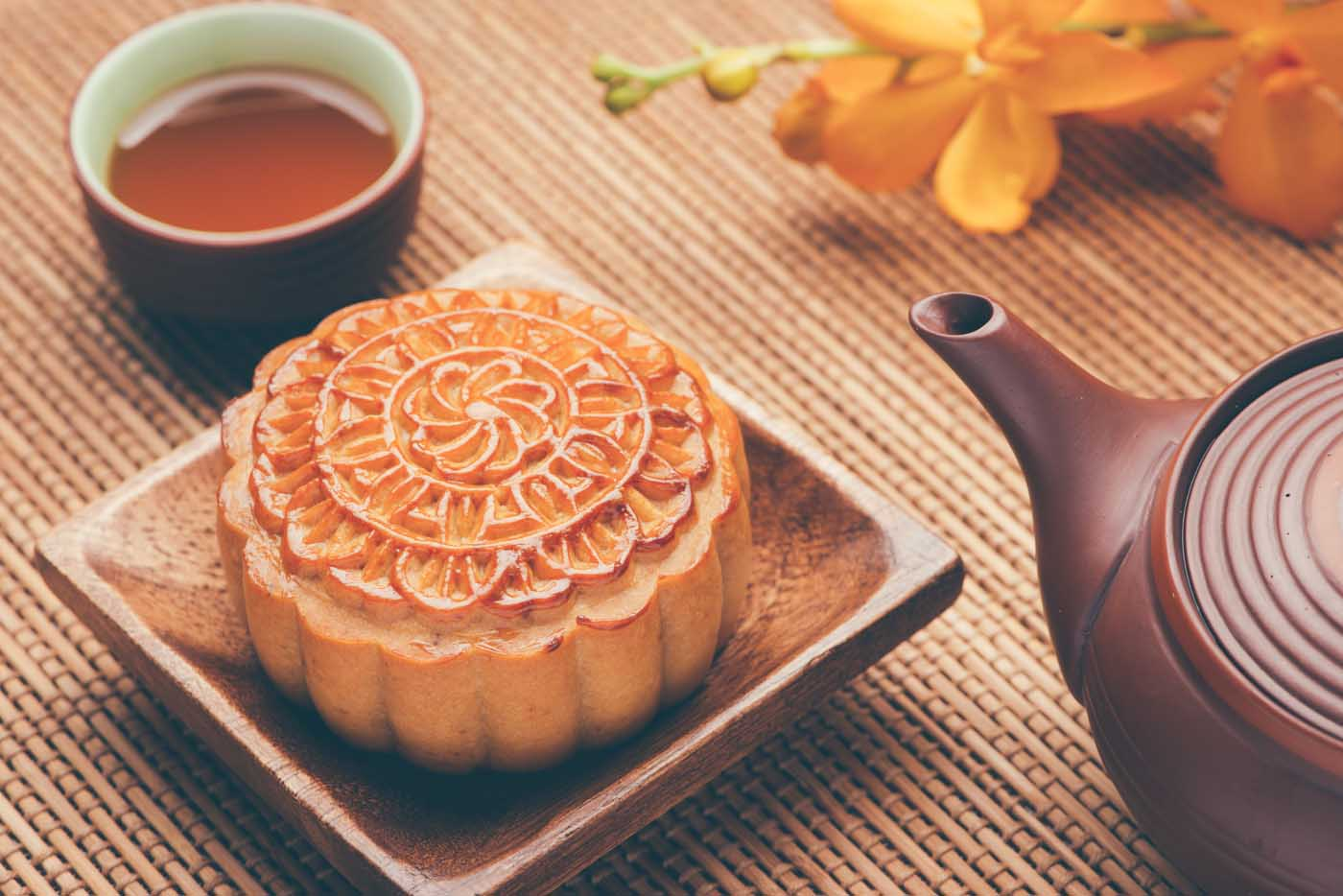 Moon cake and tea served for Chung Chiu Moon Festival