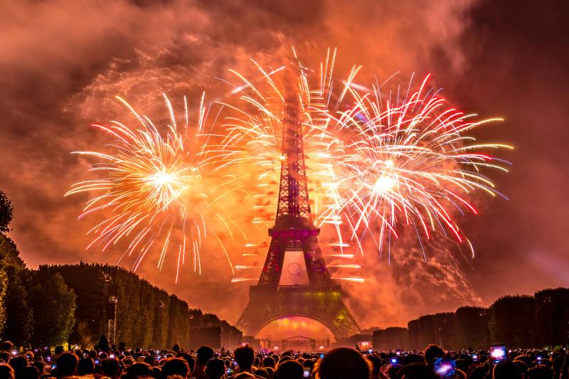 Paris, France - Eiffel Tower Bastille Day Fireworks