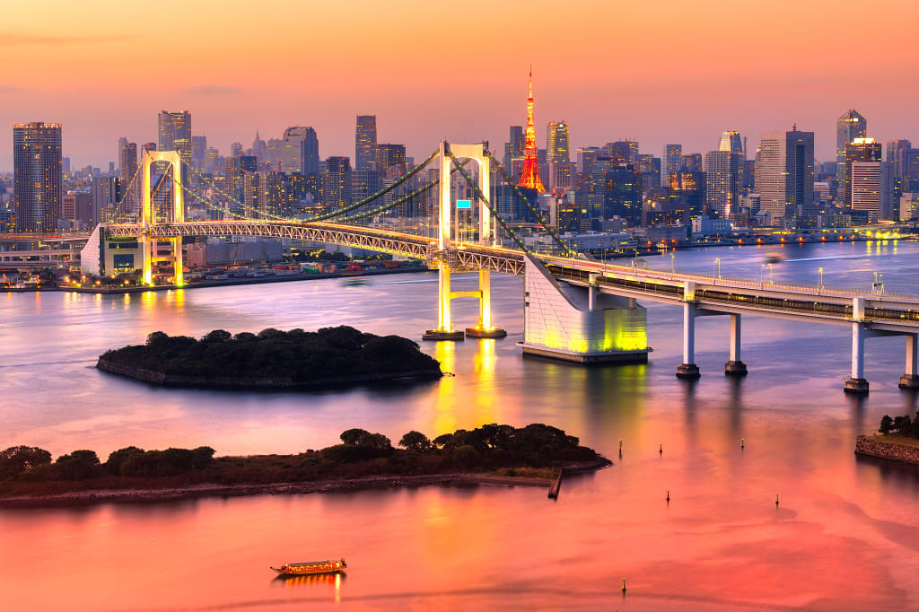 Skyline with Tokyo Tower and Rainbow Bridge Tokyo, Japan