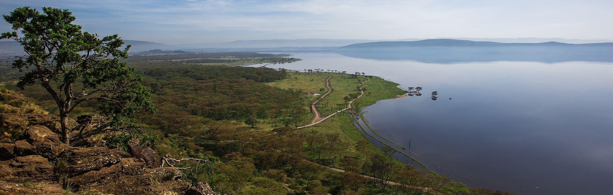 Aerial view over Lake Nakuru in Kenya