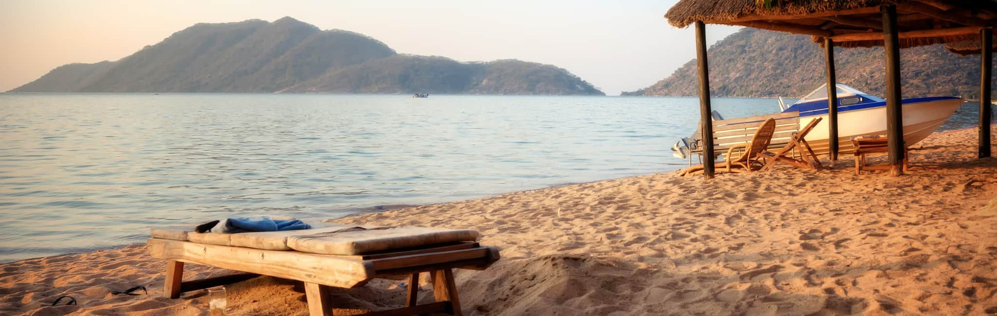 Relaxing on the beach in Monkey Bay, Malawi.