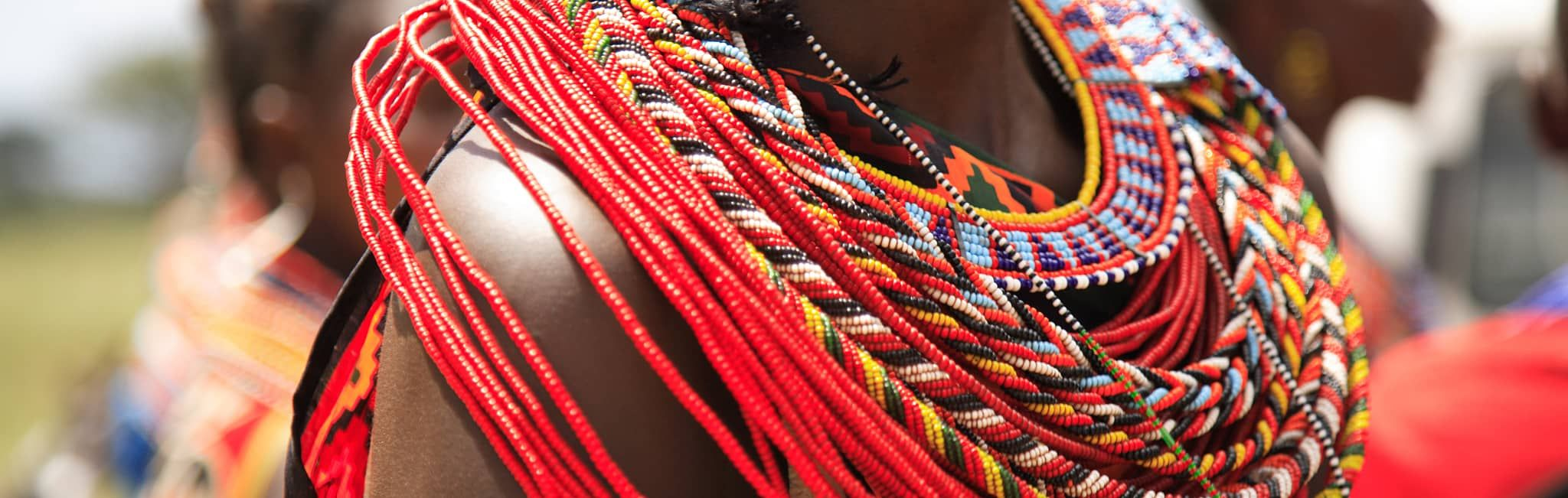 Close up of African jewelry in a Masai Village in Kenya.