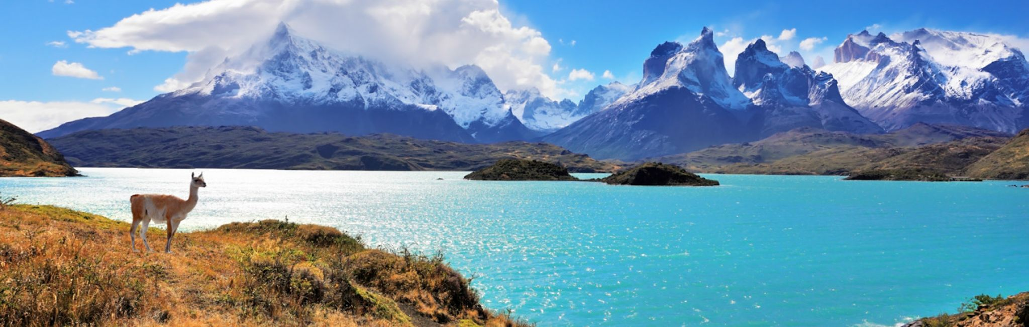 Lake Pehoe at Torres del Paine National Park in Chile.
