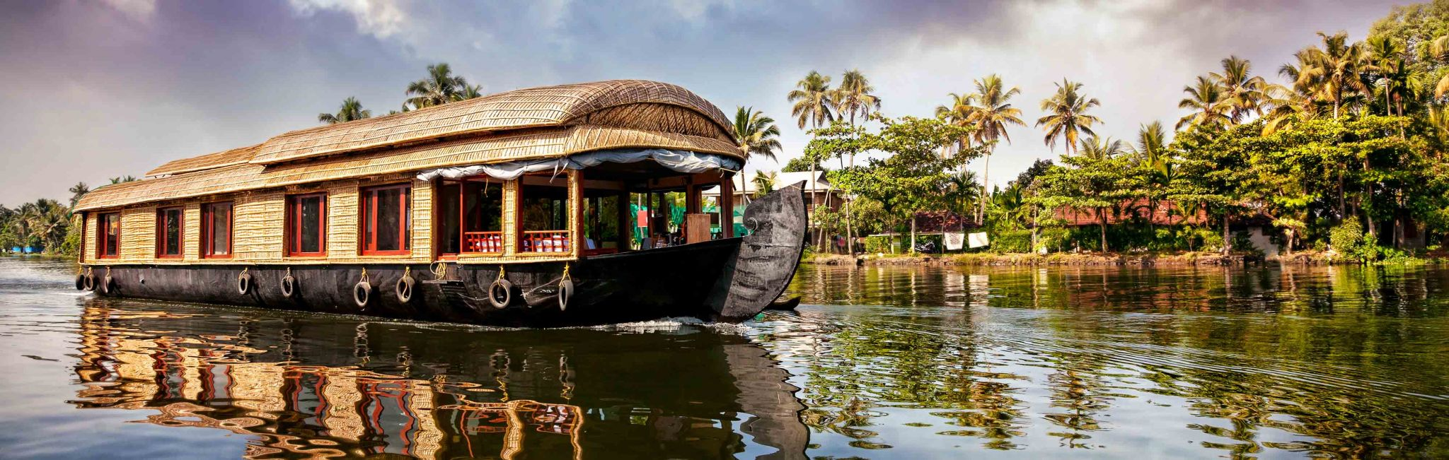A houseboat in Kerala, India.