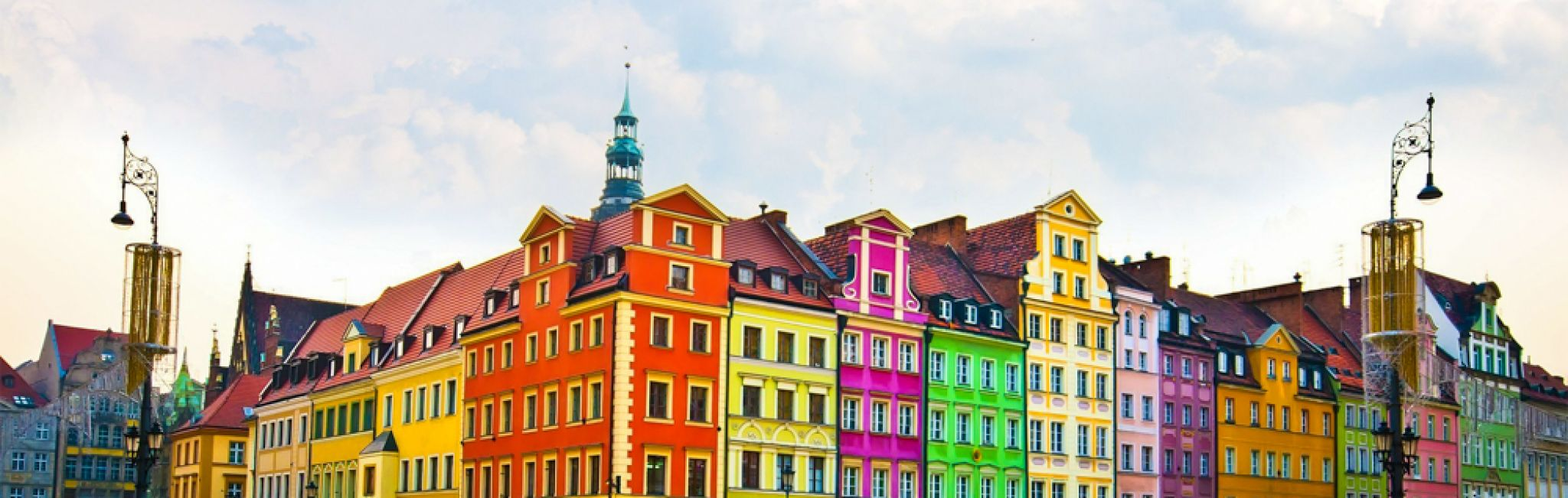 Colorful houses in the city center of Wroclaw, Poland.
