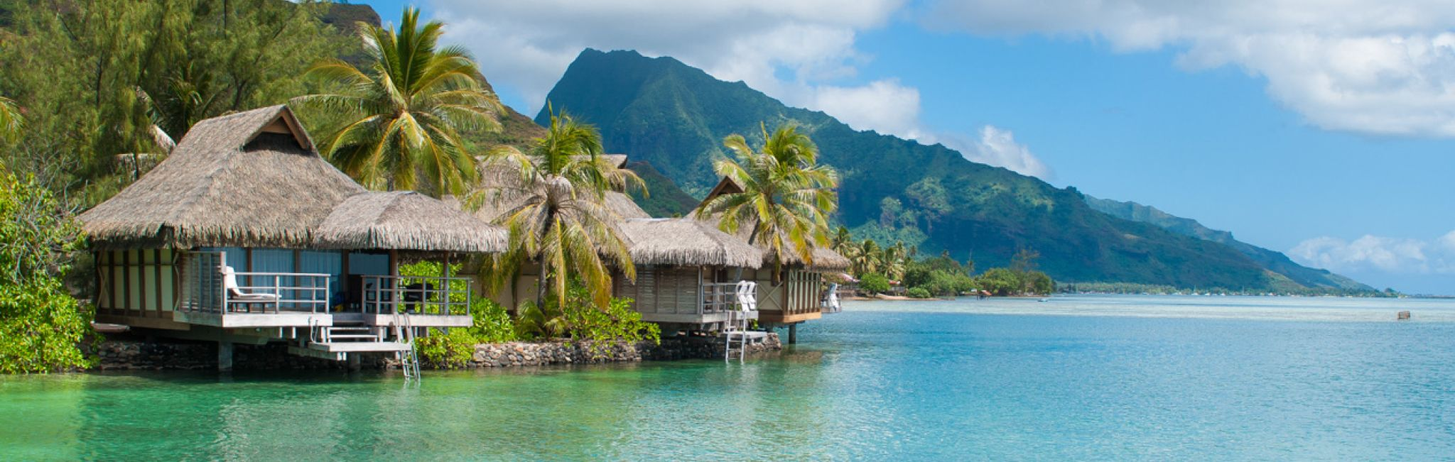 A bungalow on a remote part of Tahiti.