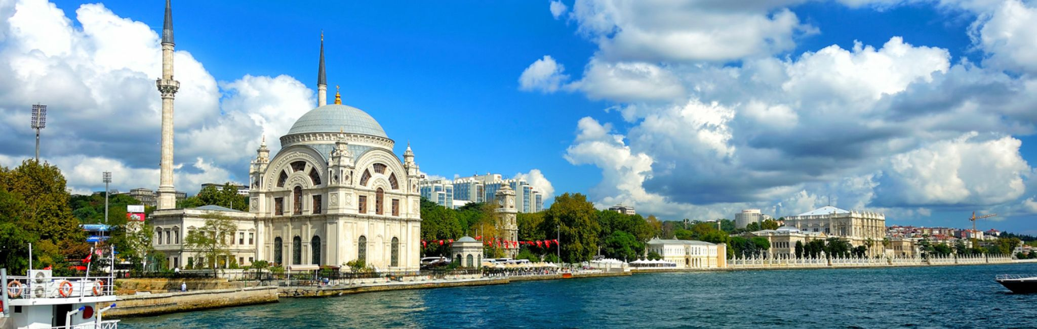 Dolmabahce Mosque in Bosphorus, Istanbul, Turkey.