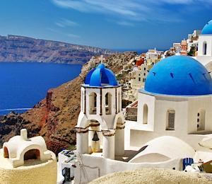 View of the Santorini, Greece buildings bordering the Santorini Caldera