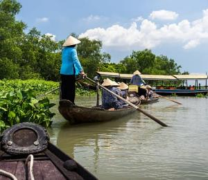 Tour row boat in Tra Su indigo plant forest in An Giang on the Mekong delta, Vietnam.