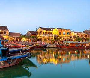 Old town Hoi An in Vietnam after sunset