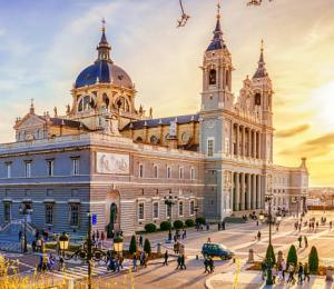The Cathedral of Madrid at sunset.