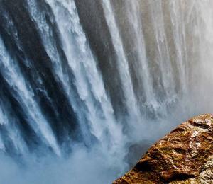 Downward view of Victoria Falls at the border of Zimbabwe and Zambia