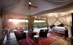 Botswana Duba Plains Suites guest tent interior private lounge credit: great plains conservation