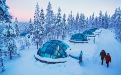 Glass igloos in Finland. Photo credit Kakslauttanen.