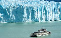 A boat passes by the Perito Moreno Glacier in Argentina.
