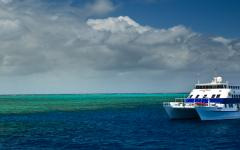 A catamaran cruise stops at the Great Barrier Reef.