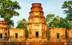 A temple in the jungle of Cambodia.