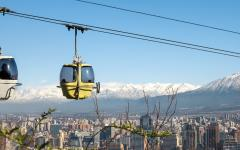 The San Cristobal Hill Cable Car travels high above the capital of Chile.