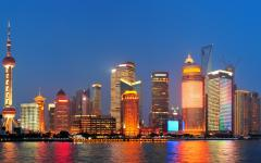 The skyline of Shanghai at night.