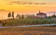 A golden sunrise in Tuscany.