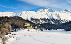 Wintertime in St. Moritz, Switzerland.