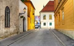 An old street in Zagreb, Croatia.