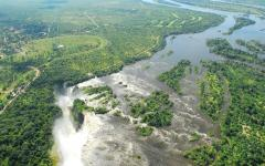 Bird's eye view of Zimbabwe Victoria Falls Zimbabwe, Africa