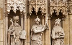 Statues of Saints on Zagreb cathedral, Croatia.