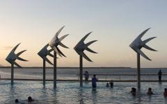Sculptures in lagoon in Cairns.