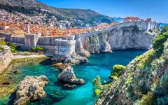 View of Dubrovnik city from the Adriatic coastline.