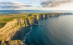 An aerial view of the cliffs of Moher.