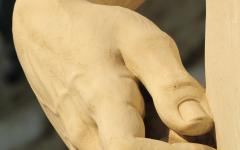 The hand of Michelangelo's David, Florence, Italy.