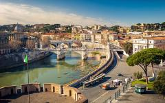 The river Tiber runs through Rome, Italy.