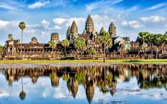 View of Angkor Wat reflected of water in Cambodia.