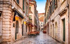 View of an old street in Dubrovnik, Croatia.