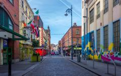 A colorful street in Dublin.