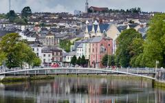The River Lee running through Cork City, Ireland.