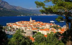 View of the historic town of Korčula in Croatia.