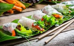 Vietnamese spring rolls.