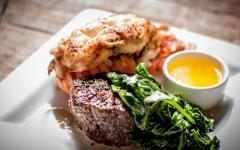 surf and turf dinner on a white plate