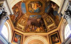 Ceiling paintings in the dome of the Vatican Museum in Roma, Italy