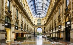 Inside view of glass dome in Galleria Vittorio Emanuele in Milan Italy