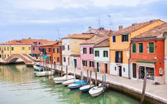 View of colorful buildings and boats on Murano Island in Venice, Italy